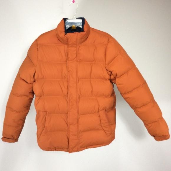 HP Lands End Down Orange Puffer Coat L 42 44.